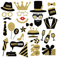 30PCS 2020 Happy New Year's Eve Party Photo Booth Props Supplies Decoration