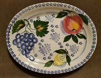 """Made In Italy By Ancora 19"""" Oval Large ceramic Serving Platter Fruit blue white"""