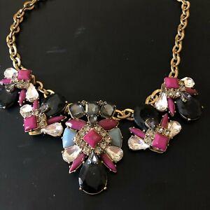 J. Crew Statement Necklace Bib Jewel Chunky Purple Black Jewelry
