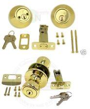 1 Set Of NUSET Keyed Alike Entry Doorknob + Double Deadbolt