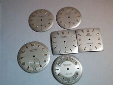 Movado dials, lot of 6. used. great deal. (27.3mm, 28.6mm, 31.5mm, 25.2mm)