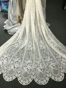 Bella Rosa Lace Curtain -White -213 cm drop-Beautiful Scalloped Rose Lace- ROD
