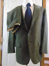 Faconnable Tailleur Italy 2-PC Suit Gray Taupe Houndstooth Glenplaid EU 56 US 44
