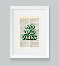 No Bad Vibes Wording Green Vintage Dictionary Book Print Art