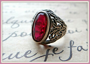 Great Antique RUSSIAN STERLING SILVER 875 ring sz 9.5 pink Tourmaline Victorian