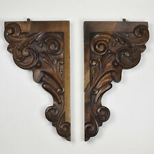 Antique French Carved Wood Wall Shelf Rack Console Corbels Brackets Renaissance