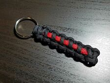 550 Paracord Keychain - The Thin Red Line of Courage (Firefighters)