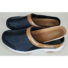 Easy spirit travelsport navy mu su denim leather clogs mules womens Size 7.5