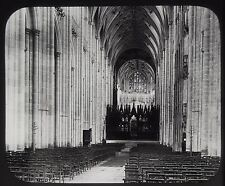 Glass Magic Lantern Slide NAVE WINCHESTER CATHEDRAL C1890 VICTORIAN PHOTO