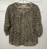 LOFT Ann Taylor Small Petite Leopard Cheetah Animal Print 3/4 Sleeve Top Blouse