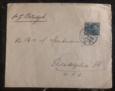 1915 Holland Netherlands Cover To Philadelphia Pa USA Perfin Stamp