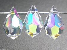 12 Czech Machine Cut Top Drilled Drop Pendants 6x10mm Crystal AB, Superior Qual