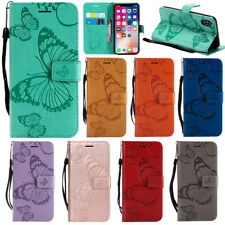 Embossed Patterned Butterfly Flip PU Leather Card Pocket Strap Case Lot Cover K5