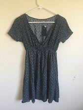 New! Brandy Melville navy blue/white floral v neck baby doll Emmy Dress NWT S/M