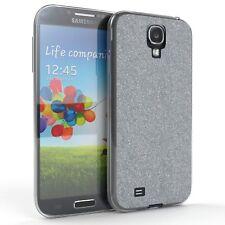 Schutz Hülle für Samsung Galaxy S4 Glitzer Cover Handy Case Silber