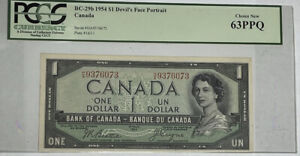 Canada BC-29b 1954 $1 Devil's Face Portrait Note Very Choice New PCGS 63PPQ