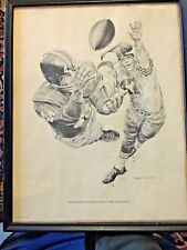 Framed Kyle Rote Lithographs 1960 Shell Oil - Robert Riger Giants
