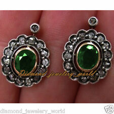 Silver Antique Studs Earring Jewelry 1.70cts Rose Cut Diamond Emerald Studded