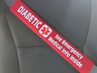 Diabetic Medical Alert Seat Belt Cover with Pocket and Medical Info Page