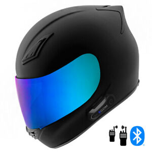 2021 Motorcycle Helmet with Intercom Bluetooth Headset + Iridium Shield