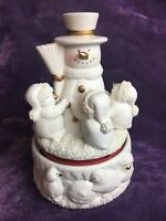 Snowman & Penguins Ceramic Wind Up Music Box Rotates & Plays 'Jingle Bells'