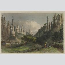 Der Bieler Grund in der Sächsischen Schweiz. Kolorierter Stahlstich 1850