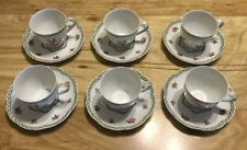 6 Haviland Limoges France French Garden Pattern Demi Tasse Cups and Saucers