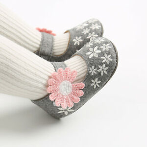 Baby Girl Flowers Crib Shoes Infant Child Princess Wedding Party Dress Shoe 0-18