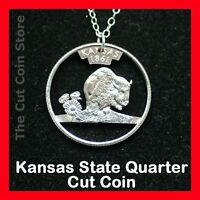 Cut Coin Jewelry Kansas KS Quarter Pendant Charm Necklace Sunflower Buffalo