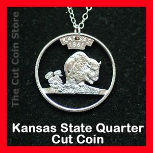Cut Coin Jewelry Kansas KS Quarter Pendant Charm Necklace Sunflower Buffalo