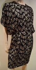 SAINT LAURENT Black Silk Blend Silver Gold Metallic Floral Thread Evening Dress