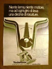 Rasorio da barba Techmatic Gillette Pubblicità vintage anni '70