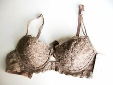 XB095 Bodyline NEW Cafe Sheen Scalloped Embroidered Laced Contour Cup UW Bra 34D