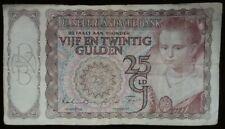 1944 NETHERLANDS WW2 German Occupation 25 Gulden Banknote Currency Foreign Money