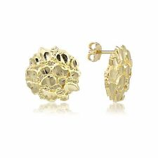 10K Solid Yellow Gold Round Nugget Stud Earrings - Diamond Cut Women Men