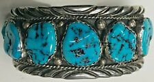 Vintage Navajo Signed E.SPENCER Sterling Silver &H Quality Turquoise Cuff Bangle