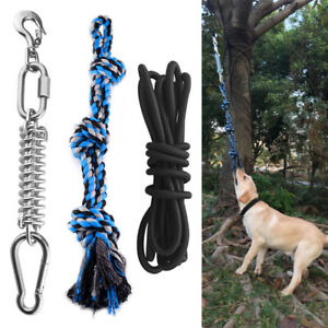 Dogs Stainless Steel Spring Pole Pet Hanging Bouncing Rope Toys Powerful Dog Fun