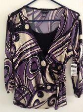 NWT  MEDIUM  M  3/4 Sleeve Dressy Top Blouse w/faux Tank Top Insert   $40