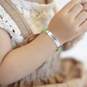 Personalized Name Number Medical Alert ID Kid Child Baby Bracelet Wristband Cuff