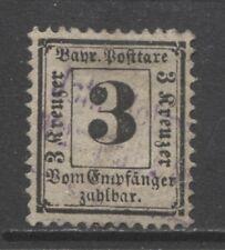 1870 German States BAVARIA  3 Kreuzer  postage due issue used, $ 720.00