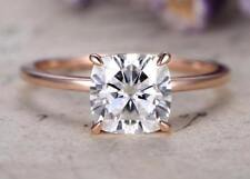 Engagement Ring In 14k Rose Gold 2 Ct 7mm Cushion Cut Solitaire Moissanite