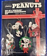 Peanuts Snoopy Dog Vtg Ornaments Applique 4 Piece Kit Christmas Craft Malina USA