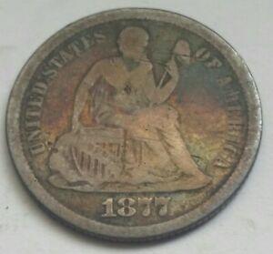 1877 CC Seated Liberty Dime 10c RARE. No Reserve Auction! #218