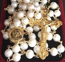 HOLY GOLD AAA White Pearl Beads catholic Rosary NECKLACE Cross Crucifix GIFT BOX