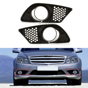 Pair Fog Light Cover Mesh Outer Grille For Benz-Mercedes W204 C300 2008-2010 L&R