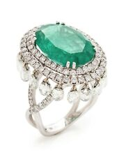 Genuine Art Deco Style 5.05Ct Oval Emerald With Fancy 4.09Ct White Cz Women Ring