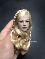 1/6 scale Blonde Braided Hair Female Head Sculpt For SUNTAN Phicen Figure Body