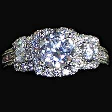 ROUND BRILLIANT_3-STONE_CLEAR CZ  ENGAGEMENT / COCKTAIL RING_SZ-7_NF 925 SILVER