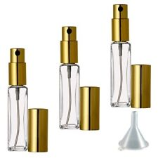 3 Travel Perfume/Cologne Atomizers, Empty Glass Bottle Gold Sprayer 1/4 oz 7.5ml