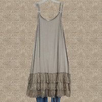Boho Women Mocha Lace Layering Tunic Tank Top Plus Size Extender Slip 1XL